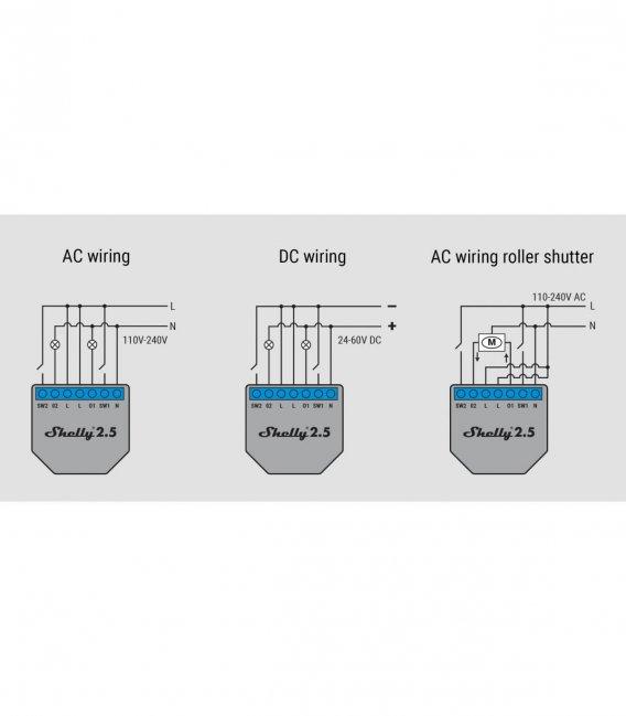Shelly 2.5 - spínací/žalúziový modul s meraním spotreby 2x 10A (WiFi)