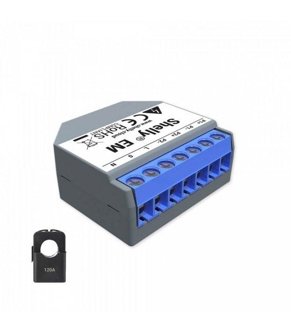 Shelly EM + 1x 120A svorka - meranie spotreby až s 2 svorkami do 120A, výstup 1x2A (WiFi)