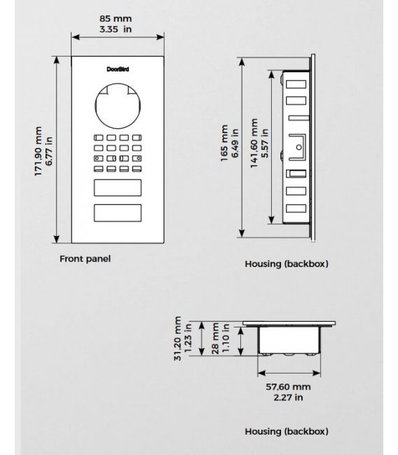 DoorBird D1101V, Zapustená montáž, Nehrdzavejúca oceľ V2A, Leštený