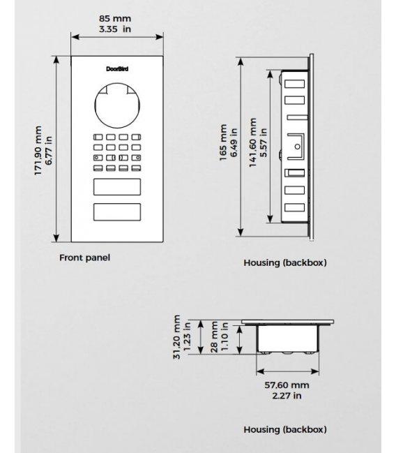 DoorBird D1101V, Zapuštěná montáž, Nehrdzavejúci ocel V2A, Leštěný