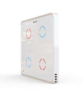 HELTUN Touch Panel Switch Quarto (HE-TPS04-WWM), Z-Wave nástenný vypínač 4 tlačidlá, Biely