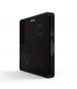 HELTUN Touch Panel Switch Quarto (HE-TPS04-MKK), Z-Wave nástenný vypínač 4 tlačidlá, Čierny