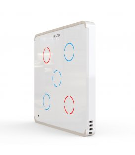 HELTUN Touch Panel Switch Quinto (HE-TPS05-WWM), Z-Wave nástenný vypínač 5 tlačidiel, Biely