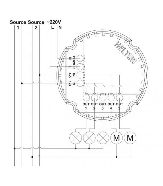 HELTUN Touch Panel Switch Quinto (HE-TPS05-WW), Z-Wave nástěnný vypínač 5 tlačítek