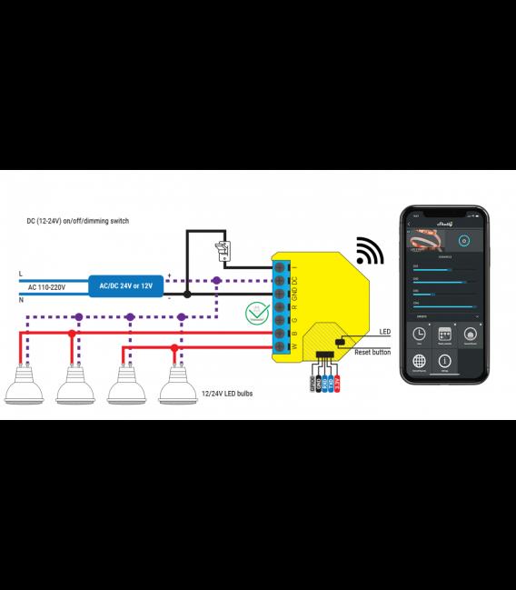 Shelly RGBW2 - module for LED strip control 4x PWM 12/24V (WiFi)