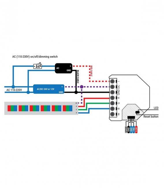 Shelly RGBW2 - modul řízení LED pásků 4x PWM 12/24V (WiFi)