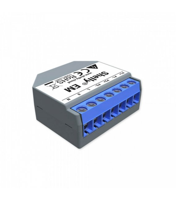 Shelly EM without clamp - power consumption measurement with up to 2 clamps up to 120A, output 1x2A (WiFi)