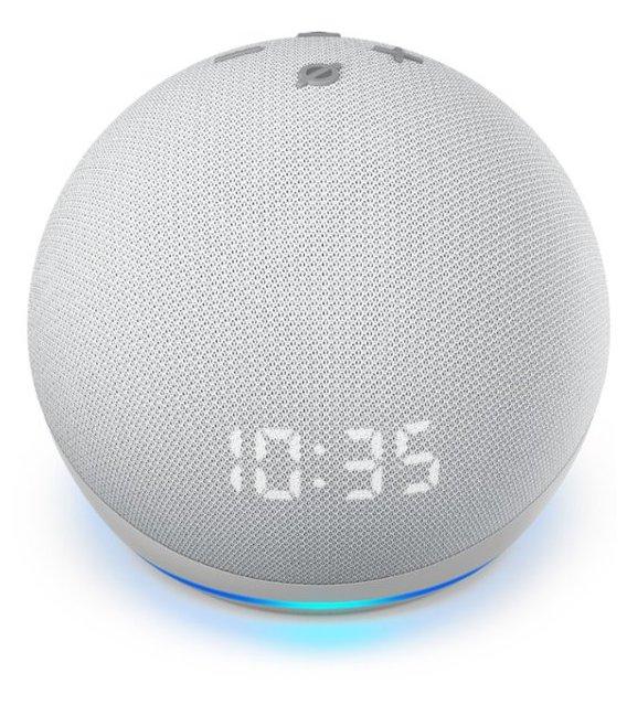 Amazon Echo Dot 4th generation with clock Glacier White