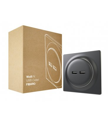 USB zásuvka bez inteligence - FIBARO Walli N USB Outlet Anthracite (FGWU-021-8)