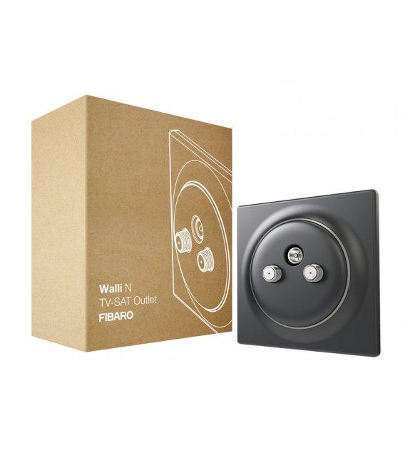 Koaxiálna zásuvka bez inteligencie - FIBARO Walli N TV-SAT Outlet Anthracite (FGWTFEU-021-8)