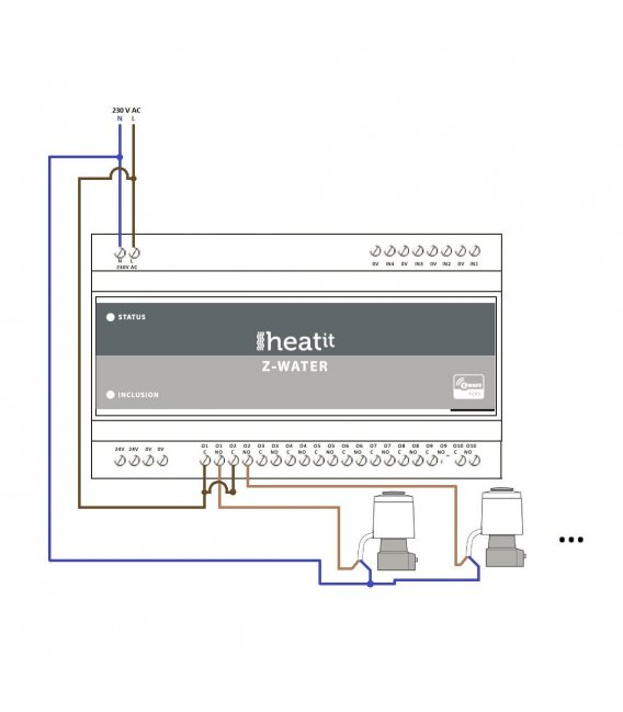 Heatit Z-Water, control the hydronic heating 10 outputs