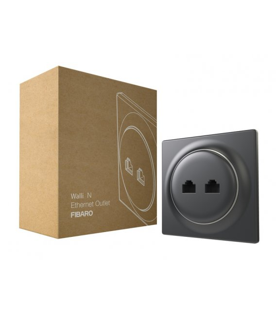 Ethernetová zásuvka bez inteligencie - FIBARO Walli N Ethernet Outlet Anthracite (FGWEEU-021-8)