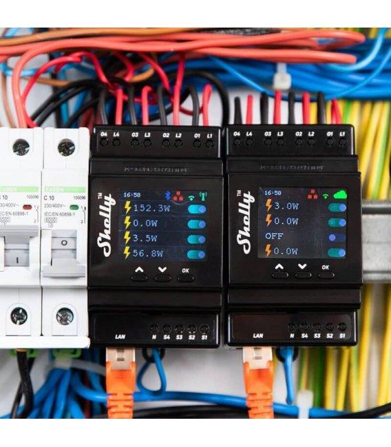 Shelly Pro 4PM - DIN rail Quad Relay Switch 4x 16A (WiFi)