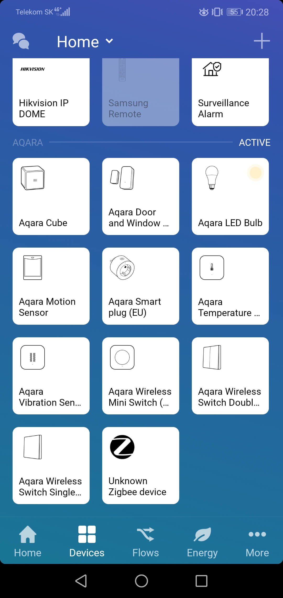 Aqara devices in Homey App