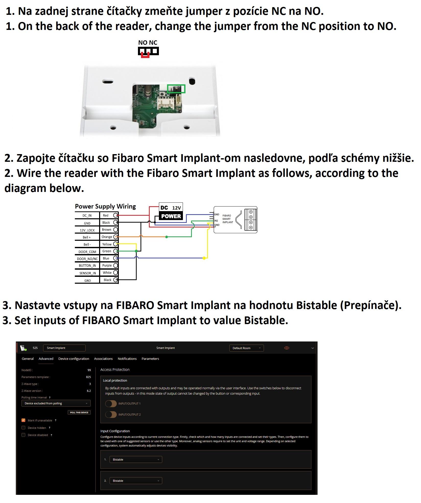 RFID reader and PIN code keypad with FIBARO Smart Implant