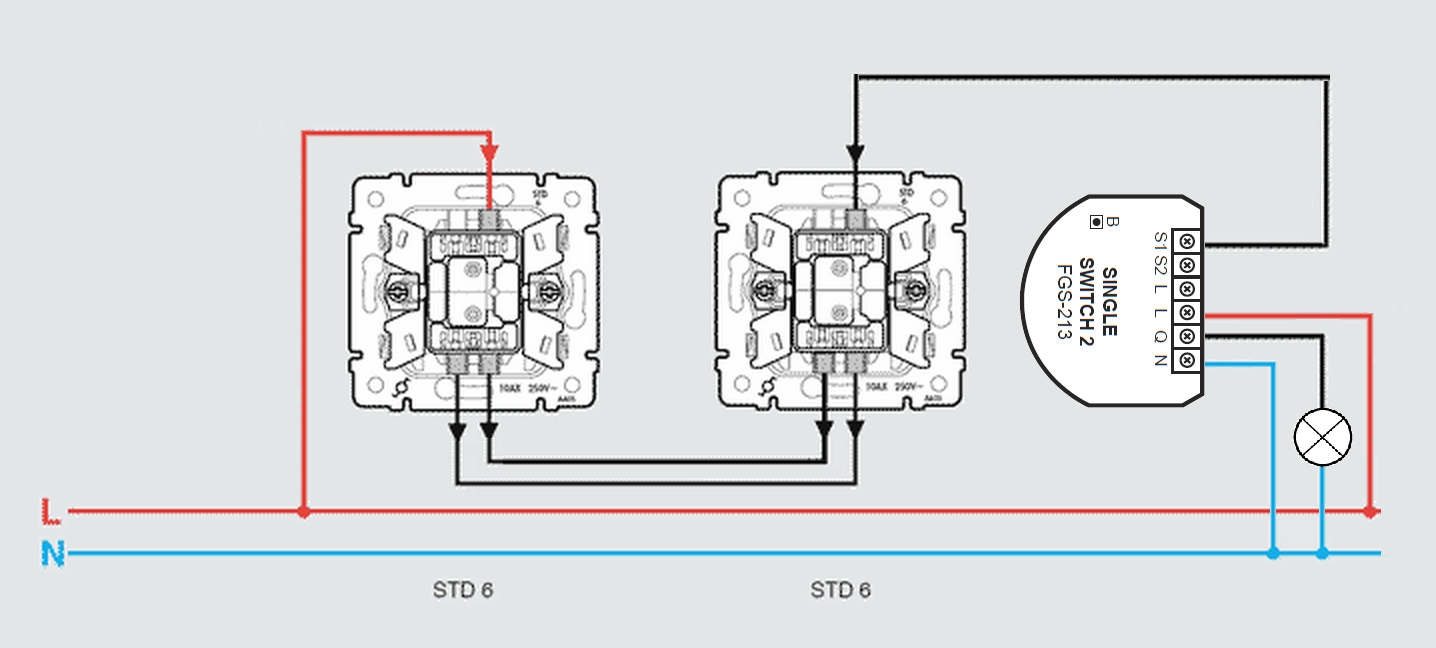 Wiring diagrams: STD 6 3-way switch