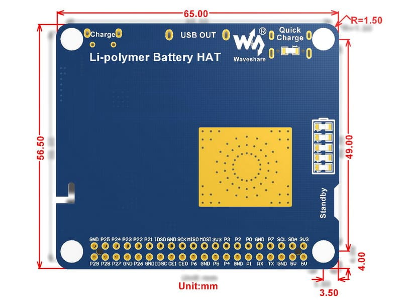 Waveshare Li-polymer Battery Hat, 5V výstup, s batériou